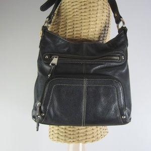 Tignanello Black Leather Organizer Shoulder Bag